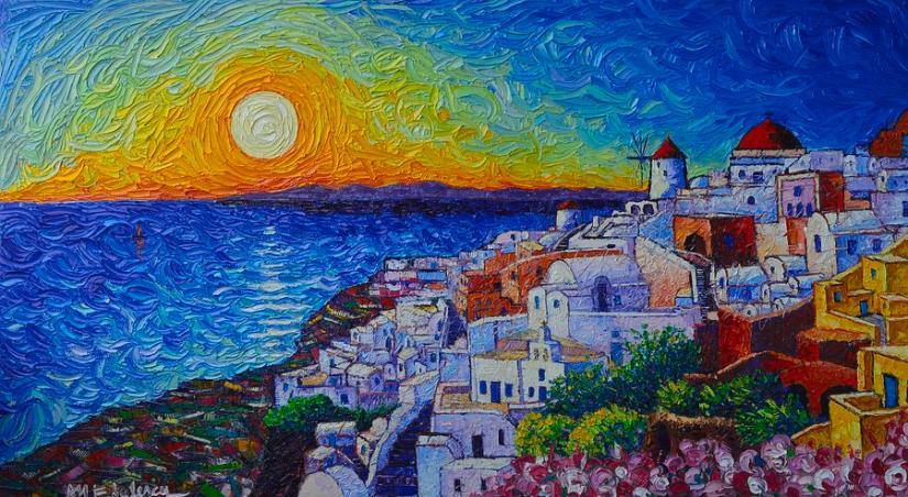 santorini-oia-sunset-modern-impressionist-impasto-palette-knife-oil-painting-by-ana-maria-edulescu-ana-maria-edulescu